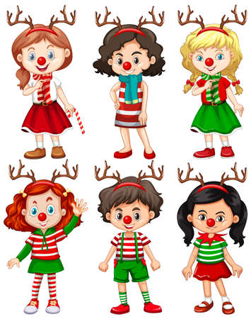 Set of different children wearing reindeer headband and red nose Christmas costume illustration