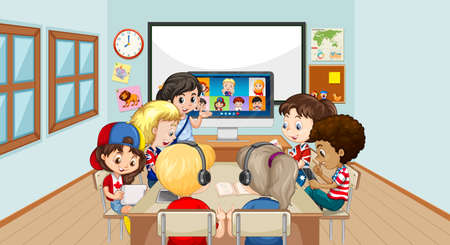 Children using laptop for communicate video conference with teacher and friends in the classroom scene illustration 矢量图像