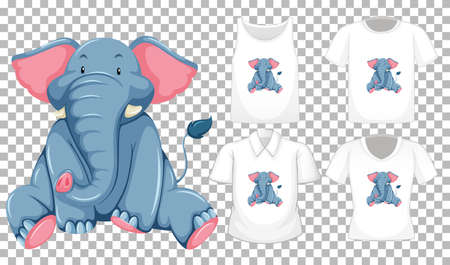 Set of different shirts with elephant cartoon character isolated on transparent background illustration