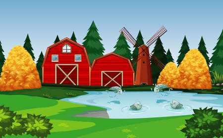 Farm with red barn and windmill scene illustration 矢量图像