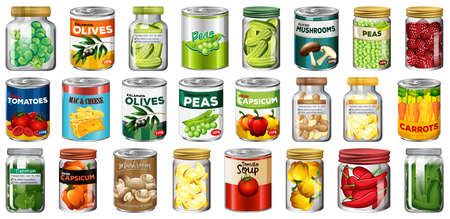 Set of different canned food and food in jars isolated illustration 矢量图像
