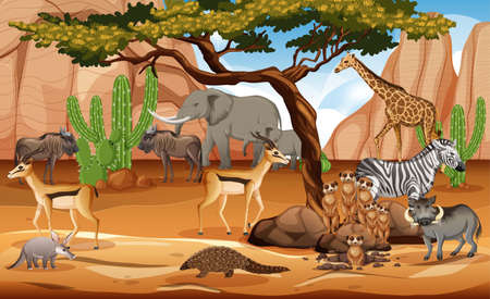 Group of Wild African Animal in the forest scene illustration 矢量图像