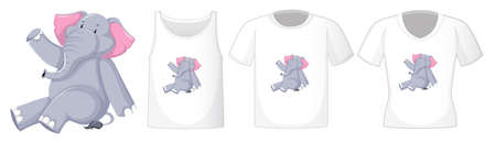 Elephant in sitting position cartoon character with many types of shirts on white background illustration Иллюстрация