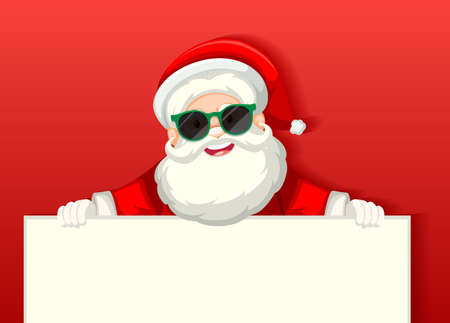 Cute Santa Claus wearing sunglasses cartoon character holding blank banner on red background illustration