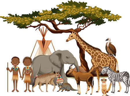 African tribe with group of wild african animal on white background illustration Иллюстрация