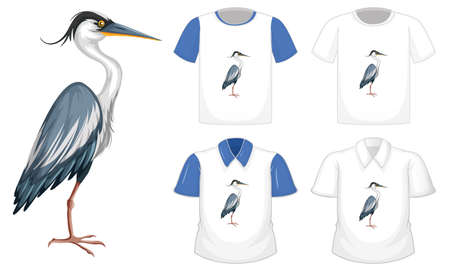 Stork bird in stand position cartoon character with many types of shirts on white background illustration