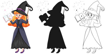 Young beautiful witch holding magic wand and book in color and outline and silhouette isolated on white background illustration