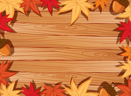 Top view of blank wooden table with leaves in autumn season elements illustration