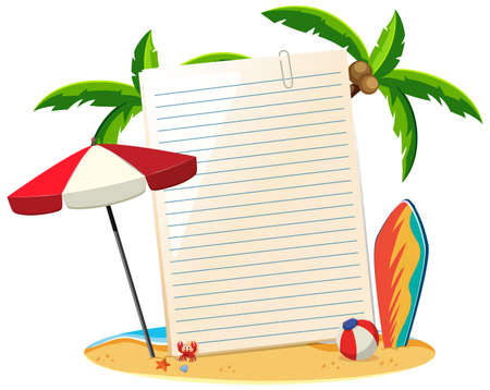 Blank paper not template summer theme illustration