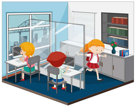 Children in the computer room with furnitures illustration