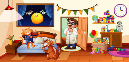 Kid bedroom with many toys and dog and cat scene illustration