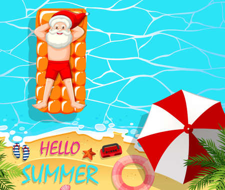 Santa Claus relax in the pool summer theme illustration
