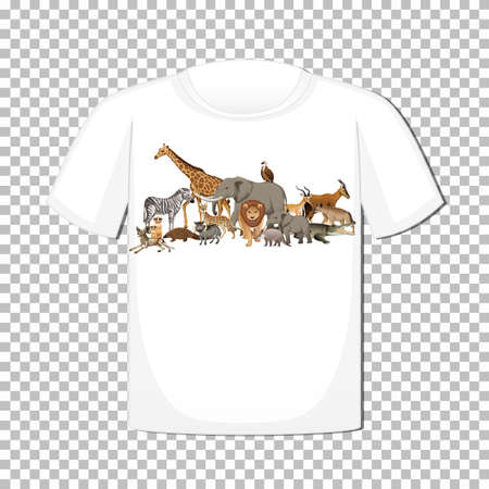 Wild animal group design on t-shirt isolated on transparent background illustration Иллюстрация