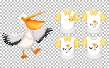 Brown pelican in stand position cartoon character with many types of shirts on transparent background illustration