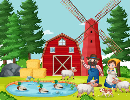 Old MacDonald in the farm with barn and windmill scene illustration