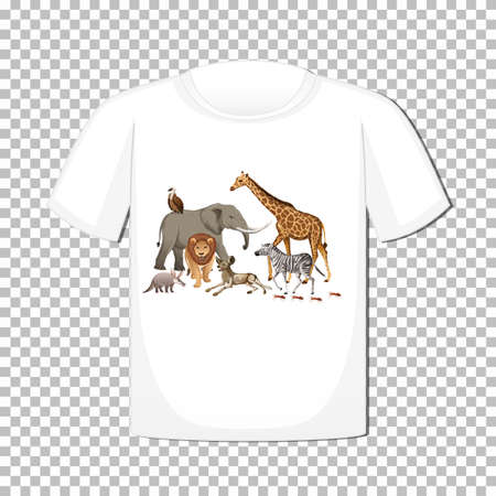 Wild animal group design on t-shirt isolated on transparent background illustration 矢量图像