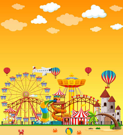 Amusement park scene at daytime with blank yellow sky illustration