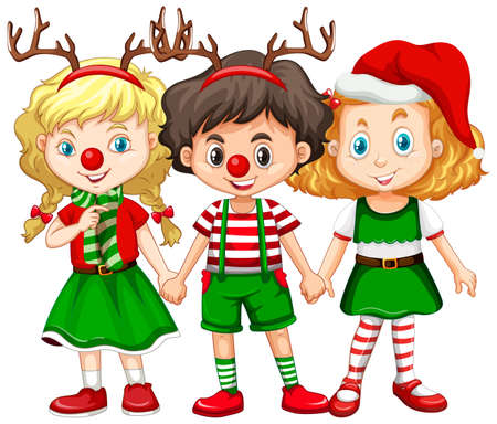 Children wearing reindeer headband and red nose Christmas costume illustration 矢量图像