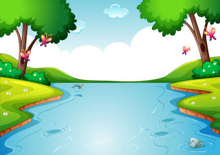 Blank river in forest nature scene background illustration