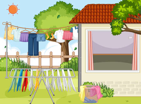 Clothes hanging on line in the yard illustration
