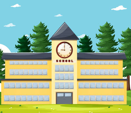 Empty scene with school building in nature illustration