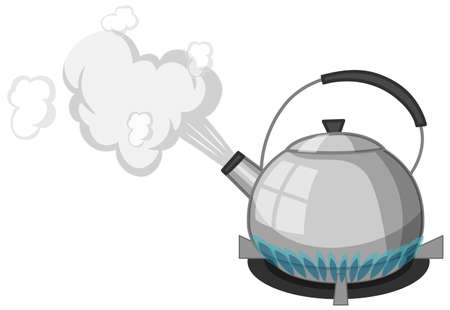 Stainless steel kettle with boiling water on stove cartoon style isolated on white background illustration