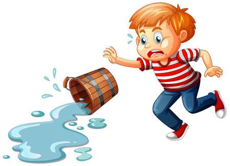 A boy with spilled water isolated on white background illustration Ilustração Vetorial
