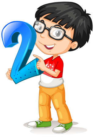 Nerdy boy wearing glasses holding math number two illustration