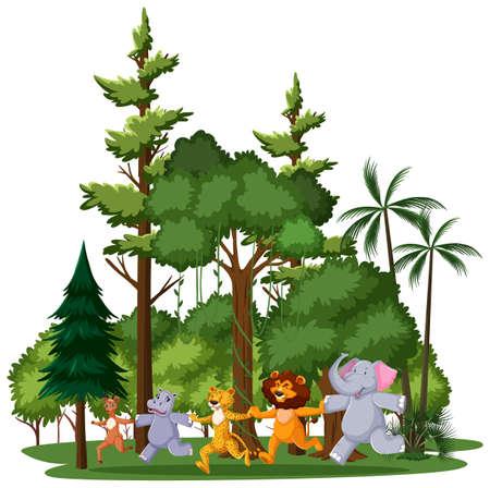 Wild animal or zoo animal group with nature elements on white background illustration