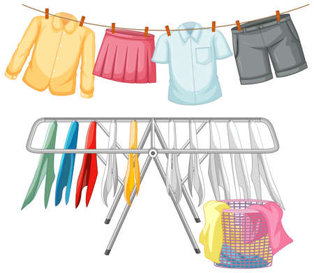 Isolated clothes hanging on white background illustration Vetores