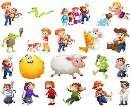 Set of different nursery rhyme character isolated on white background illustration