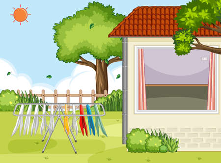 Outdoor house area with clothes hanger scene illustration