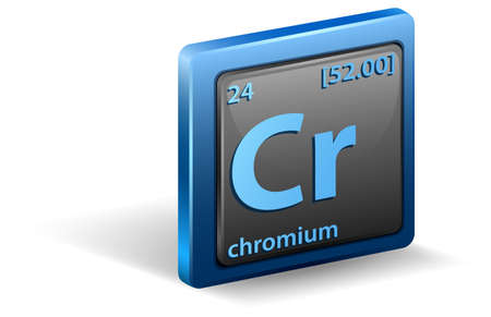 Chromium chemical element. Chemical symbol with atomic number and atomic mass. illustration 向量圖像