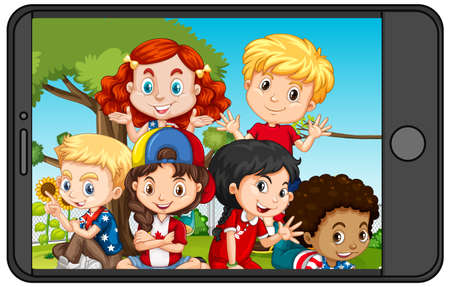 Group of children on smartphone screen illustration
