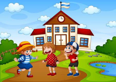 Three children in nature scene with school building illustration