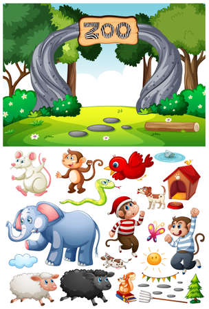 Zoo scene with isolated cartoon character and objects illustration