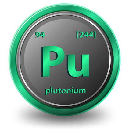 Plutonium chemical element. Chemical symbol with atomic number and atomic mass. illustration