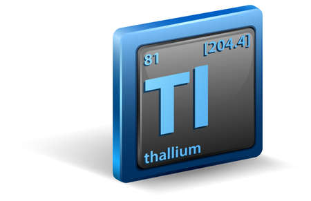 Thallium chemical element. Chemical symbol with atomic number and atomic mass. illustration