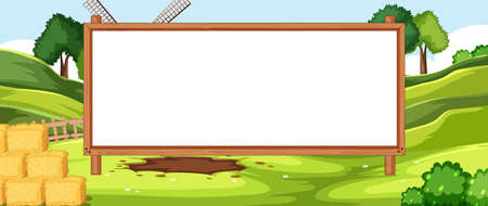 Empty banner board in nuture farm scenery illustration