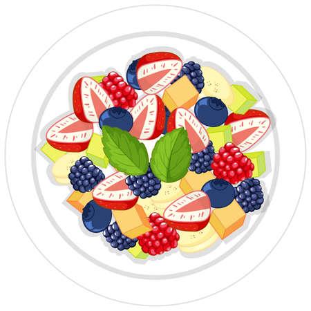 Fruit salad on plate isolated illustration Ilustração