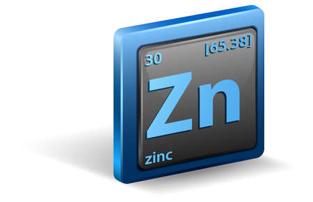 Zinc chemical element. Chemical symbol with atomic number and atomic mass. illustration