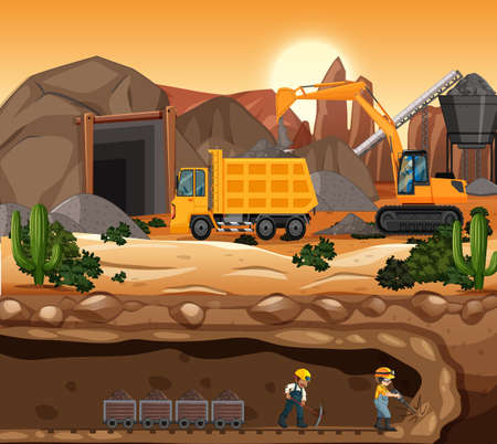 Landscape of coal mining scene at sunset time illustration