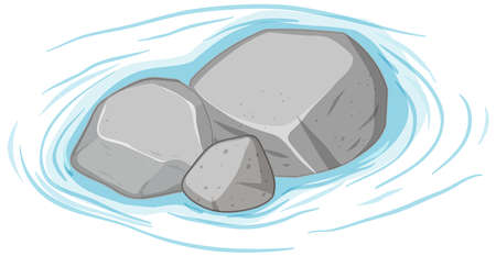 Group of gray stones on water on white background illustration
