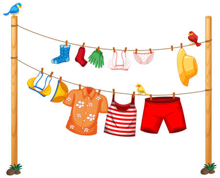 Isolated clothes hanging on clothesline on white background illustration 矢量图像
