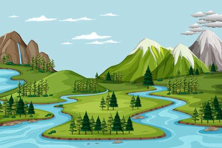 Bird's eye view with nature park landscape scene illustration Ilustracje wektorowe