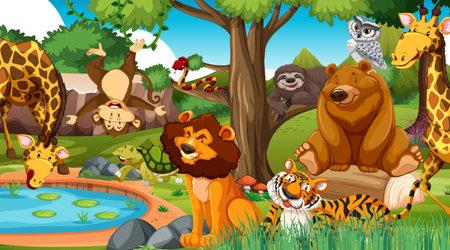 Wild animals in the jungle illustration Ilustração Vetorial