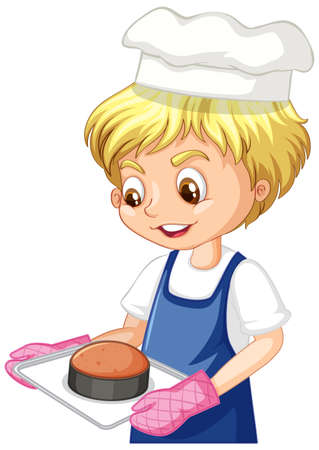 Cartoon character of a chef boy holding tray of cake illustration Vetores