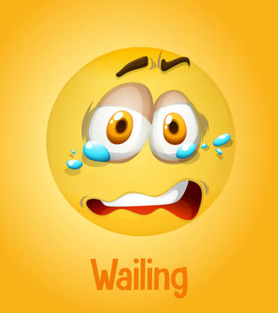 Wailing emotional yellow face with tired text on yellow background illustration Ilustración de vector