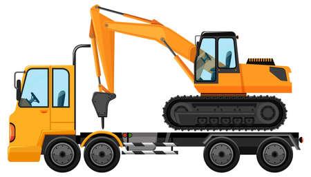 Tow truck carrying big crane tractor illustration Vetores