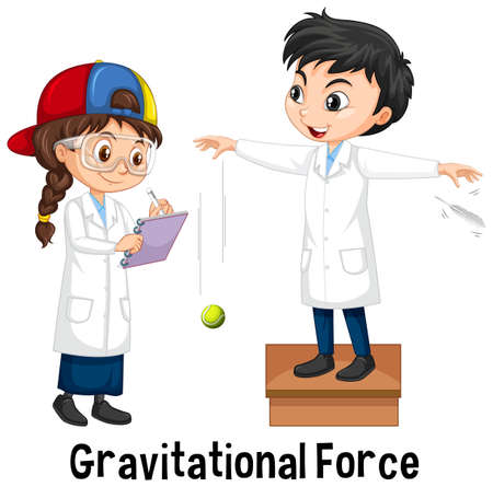 Two scientists doing gravitational force illustration